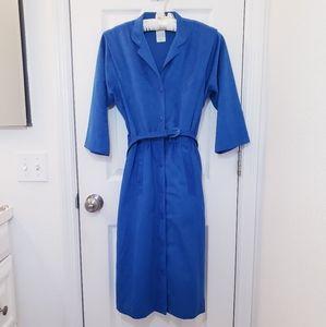 Vintage Blue Belted Button Up Dress Pinup Suede